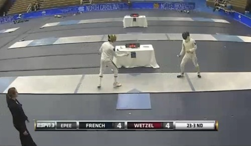 Peter Wetzel (R) of the Memphis Fencers and Boston College Fencing Team Captain competes and wins at the 2016 ACC Fencing Championships.